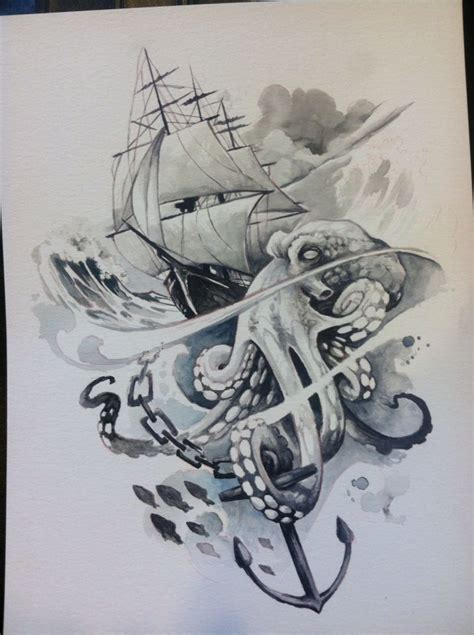 The Gallery For > Kraken Attacking Ship Painting