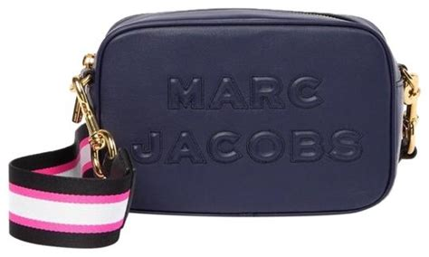 marc jacobs navy hot pink guitar strap navy leather cross body bag tradesy
