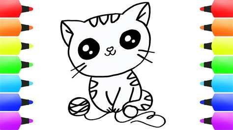 draw cat coloring pages  kids cute cat eyes