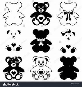 Black Vector Cute Teddy Bears Icons Collection - 403603960 ...
