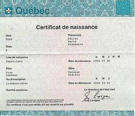 birth certificate quebec certificates templates