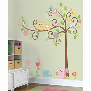 new giant scroll tree wall decals baby nursery stickers With wall decoration stickers
