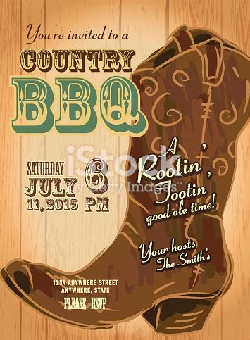 country  western bbq  cowboy boot invitation design