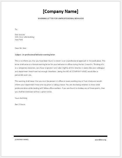 Warning Letter for Unprofessional Behavior | Word Document