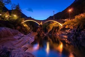 switzerland, , rivers, , bridges, , night, , street, , lights, , crag