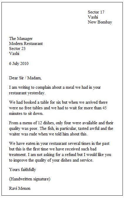 exle of a formal letter places to visit
