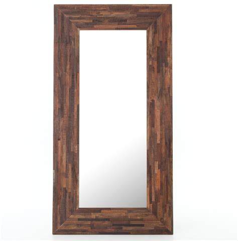 floor mirror reclaimed wood berlin mix reclaimed wood floor mirror zin home