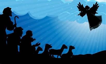 Shepherds Silhouette Angel Story Sheep Christmas Field