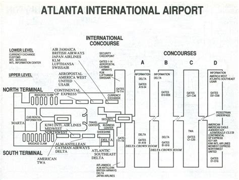 atlanta airport map terminal  atlanta airport terminal