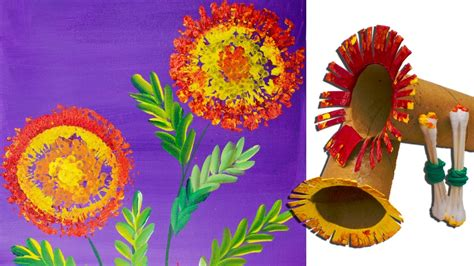 marigolds  toilet paper roll painting techniques