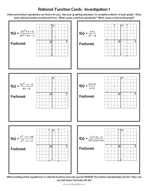 graphing rational functions worksheet answer key newatvs