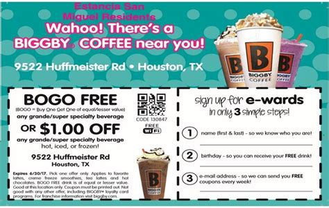 Biggby Coffee House Coupons   Apartments in Northwest Houston