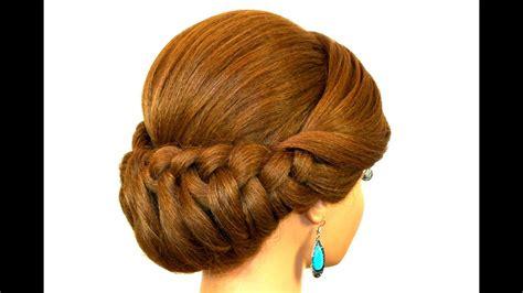 braided updo hairstyle  medium long hair youtube