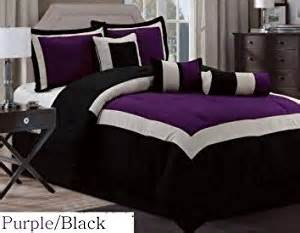 amazon com 7 pc modern hton comforter set black purple bed in a bag queen size bedding