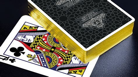 vintage label playing cards gold gilded black edition