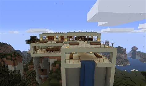 update modern hill top house minecraft map