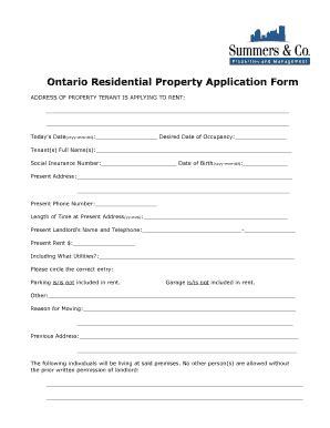 application form residential tenancy agreement ontario templates fillable printable