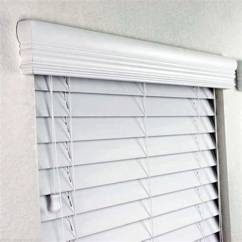 vertical blind headrail valance faux wood blinds in white w upgraded crown valance fascia