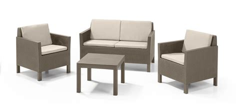 set of small table ls allibert chicago lounge set cappuccino zweisitzer sofa