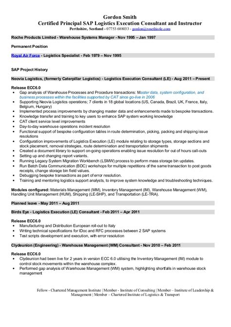 Sap Gts Resume by Sap Sd Le Resume