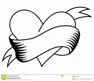 Coloring Retro Heart With Ribbon Tattoo Stock Vector ...