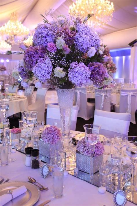 ideas  purple wedding centerpieces