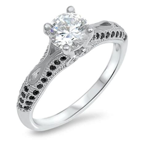 cz black onyx engagement ring 925 sterling silver