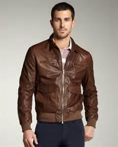 Brown Leather Bomber Jacket Men