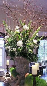 A green and white wedding Large arrangement with curly ...