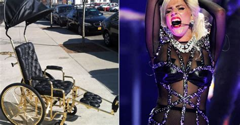 lady gagas gold wheelchair   details rolling stone