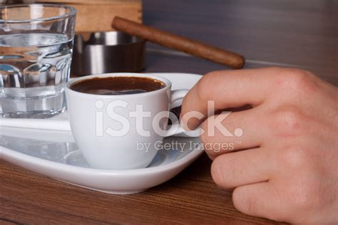 Turkish Coffee Cup At Table With Cigar Stock Photos