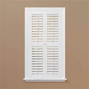 Homebasics plantation faux wood white interior shutter for Home depot window shutters interior