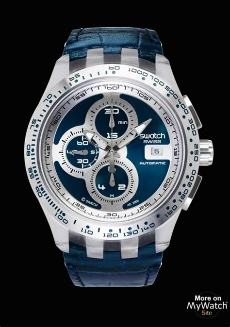 swatch  track blue swatch chrono automatic svgk blue leather strap