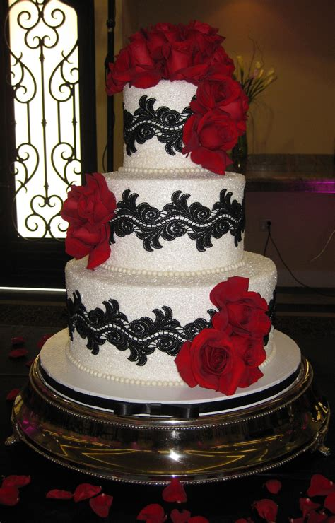 black white and red wedding cake wedding cakes and