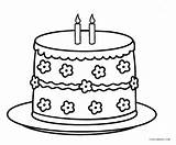 Cake Coloring Birthday Printable Pages sketch template