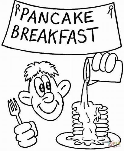 Pancake Breakfast Coloring Pages Printable Drawing Supercoloring
