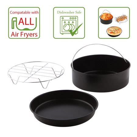 fryer air baking accessories pan safe cooking piece accessory rack dishwasher layered dish includes pack walmart