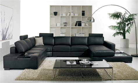 Contemporary Livingroom Furniture by T35 Modern Black Leather Sectional Living Room Furniture