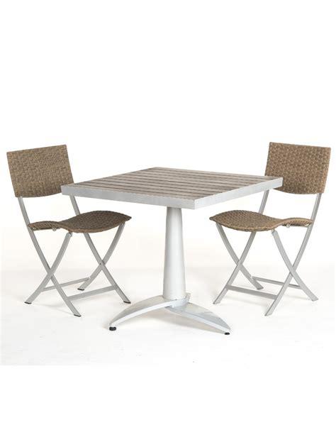 Table Terrasse En Bois 76x76 + 2 Chaises Fixes De Jardin