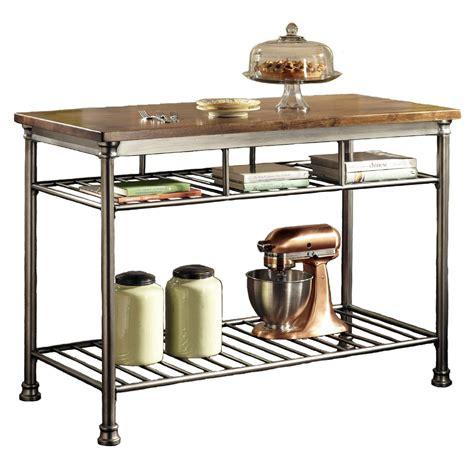 kitchen utility table classic style hardwood butcher block top metal