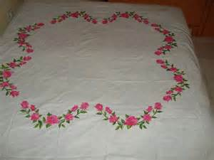 painting roses on white bed sheet fabric painting on