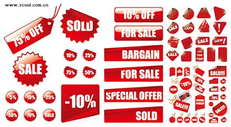vector red decoration materials sales price