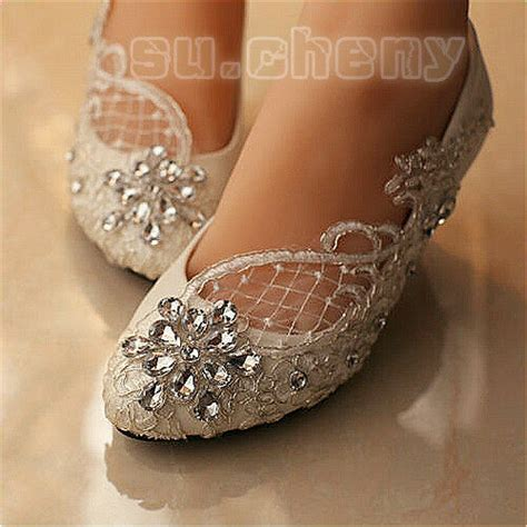 lace white ivory wedding shoes bridal flats low