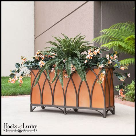 Outdoor Wall Planters Wrought Iron by Arch Wrought Iron Planters Outdoor Hooks Amp Lattice
