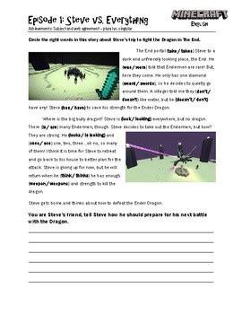 minecraft english worksheets  hkks education tpt