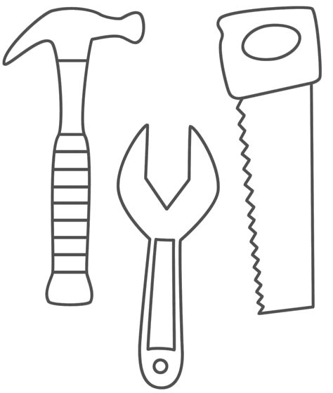 tool kit clipart black and white hammer saw and wrench coloring pages use to make