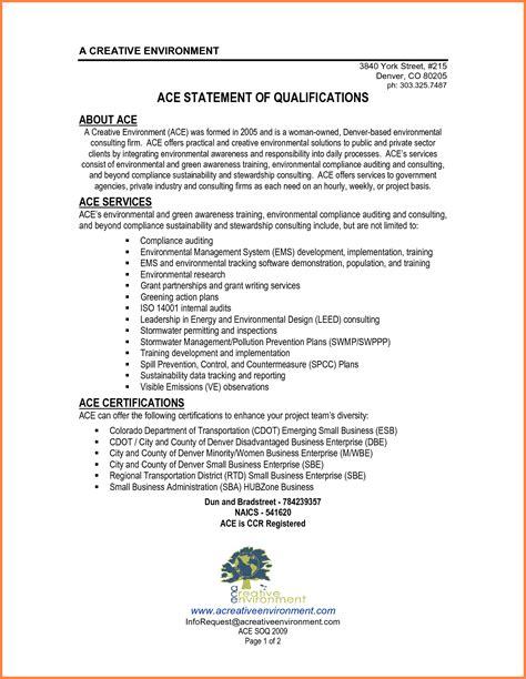 statement of qualifications exle sle resume