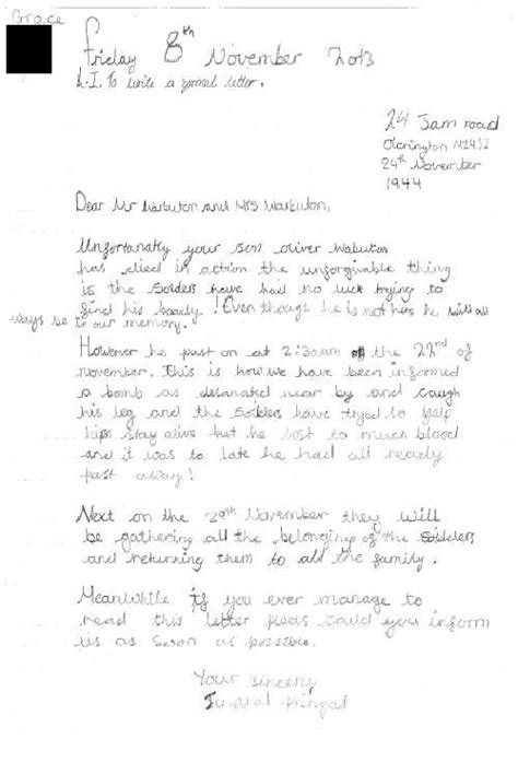 parkfield primary school year  war letters