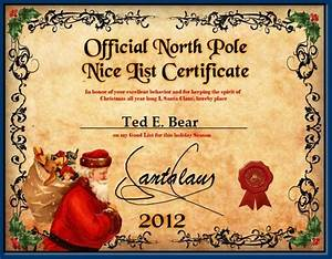 santas nice list certificate template search results With santa letter and certificate
