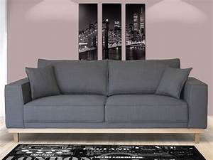 Canapé 3 Places Gris : canap 2 ou 3 places en tissu lionel gris ~ Teatrodelosmanantiales.com Idées de Décoration